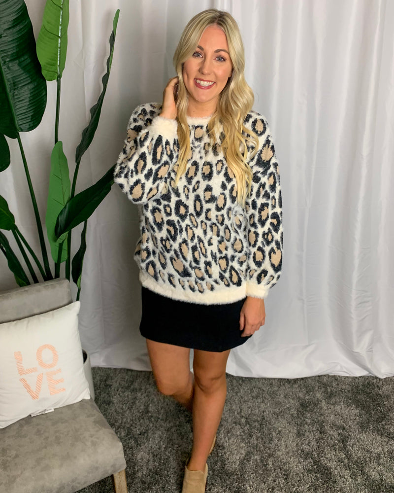 Cozy Leopard Print Sweater - Lilac&Lemon