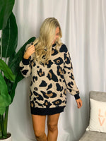 Leopard Print Long Sleeve Sweater Dress - Lilac&Lemon