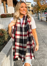 Black and Red Plaid Scarf