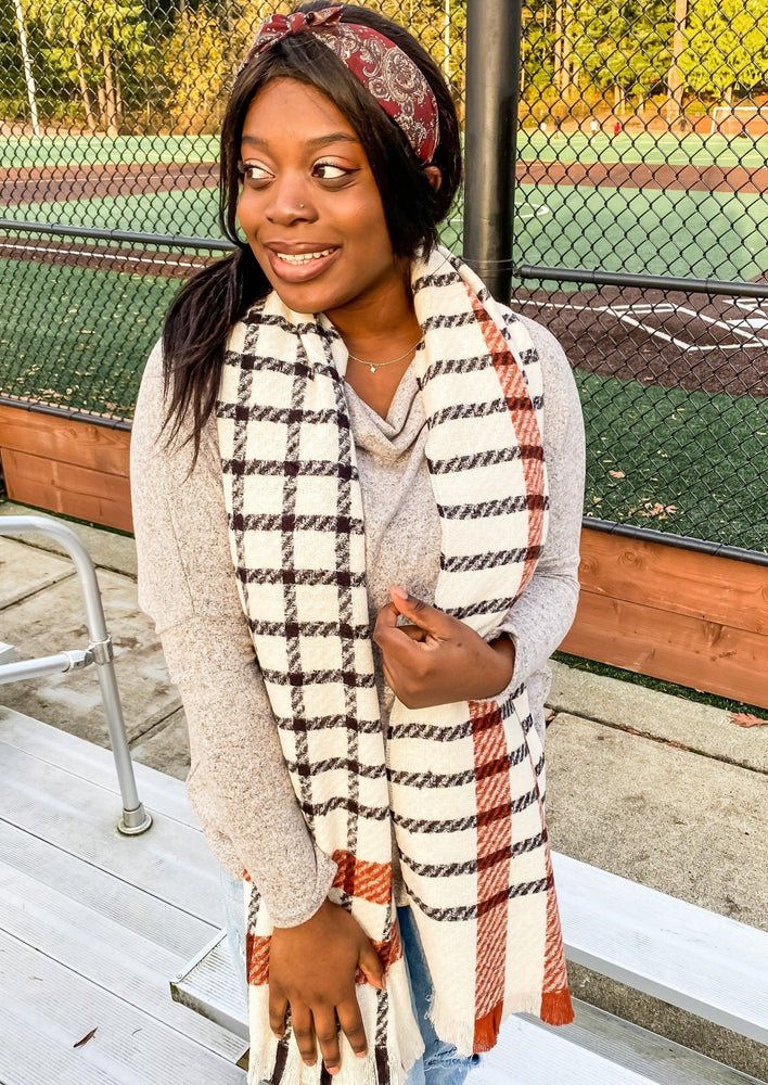 Ivory, Navy and Orange Plaid Scarf