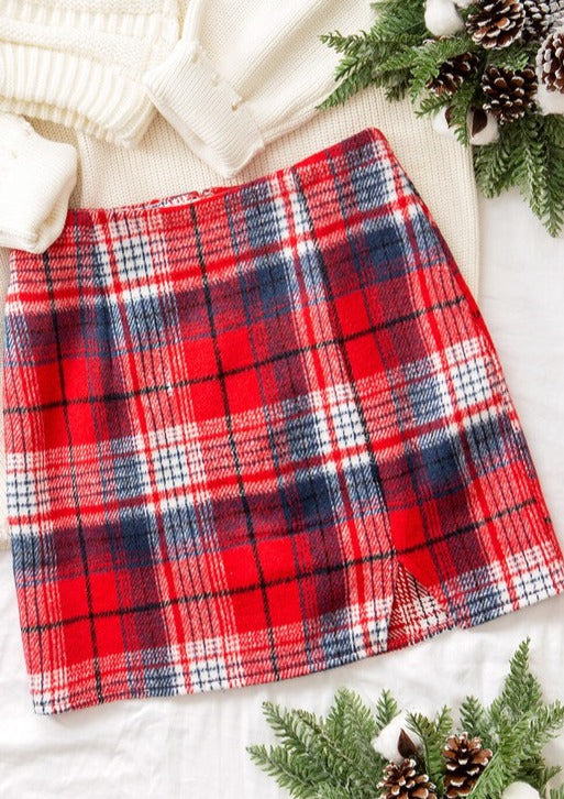 Red Plaid Mini Skirt - Lilac&Lemon