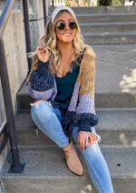Mustard and Sage Chenille Cardigan