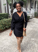 Black Knit Wrap Dress