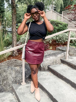 Burgundy Faux Leather Skirt - Lilac&Lemon