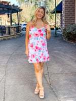 Watercolor Floral Print Mini Dress
