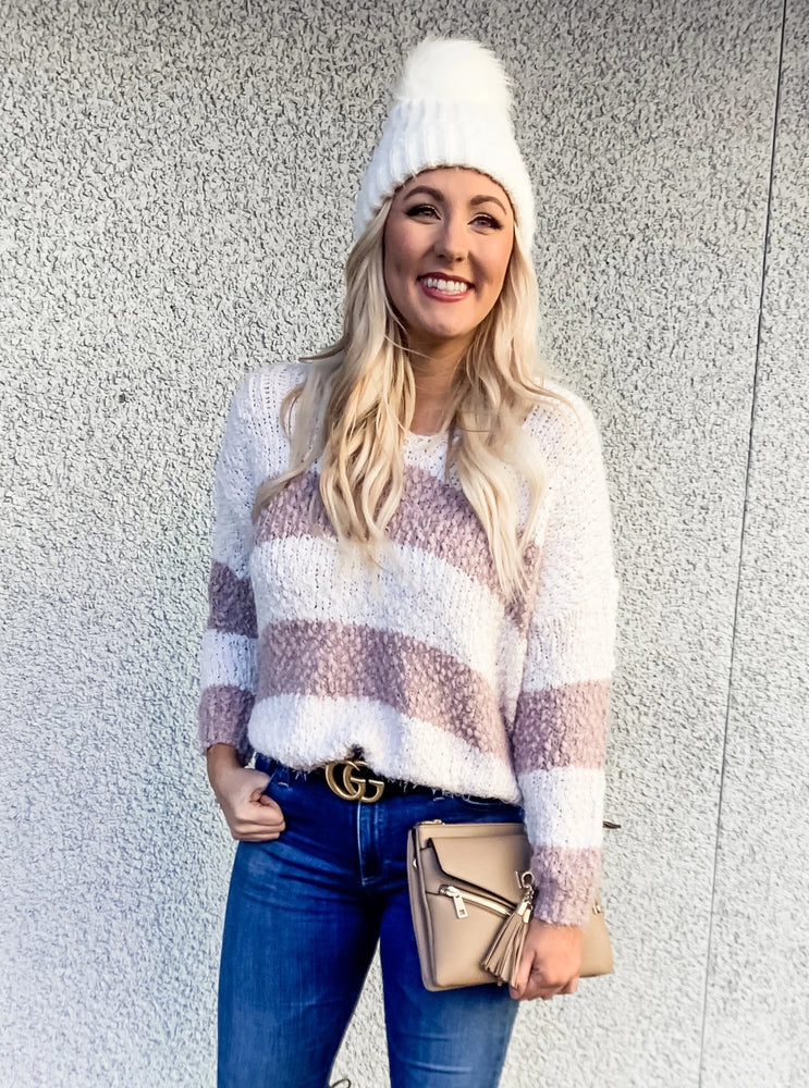 Striped Fuzzy Knit Sweater