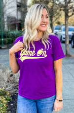 Purple and Yellow Game On Graphic Tee