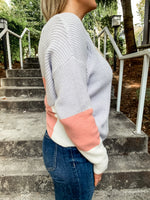 Grey Color Block Twist Back Sweater - Lilac&Lemon