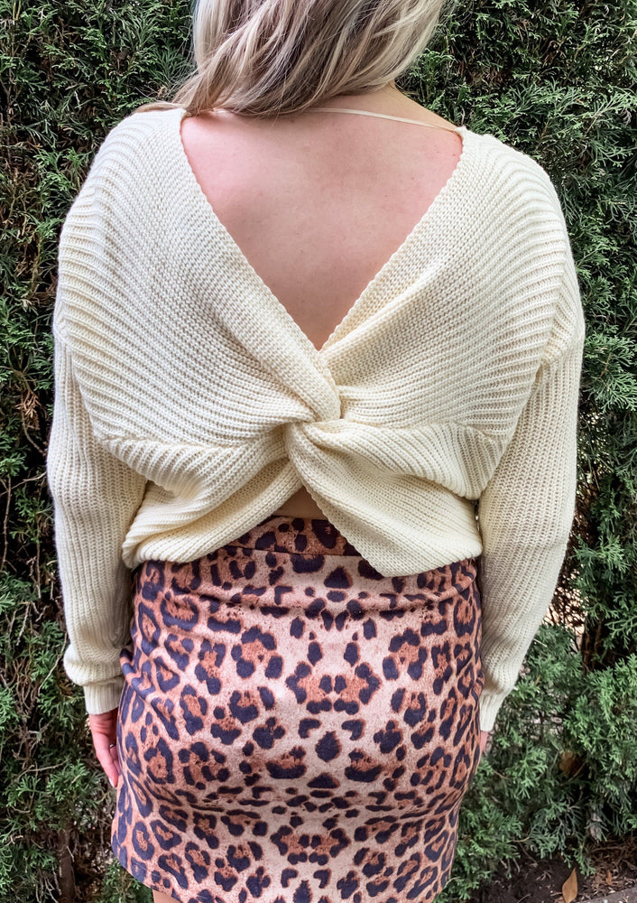 Cream Twist Back Sweater