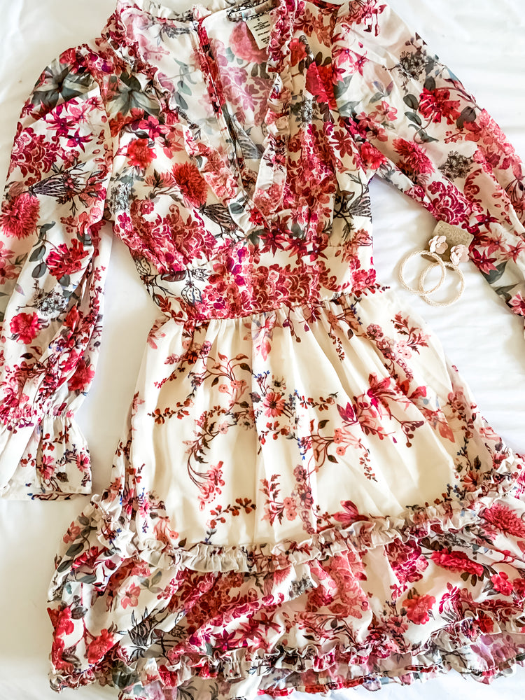 White Floral Ruffle Dress