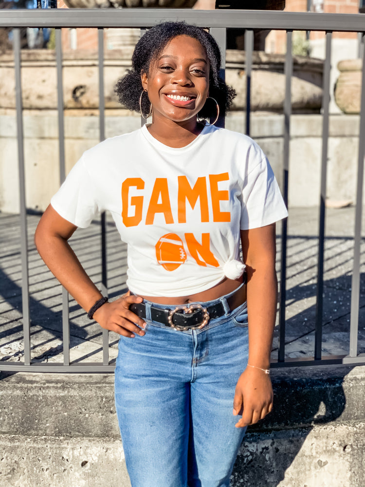 White and Orange Game On Graphic Tee