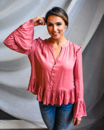 Dusty Rose Ruffle Trim Blouse