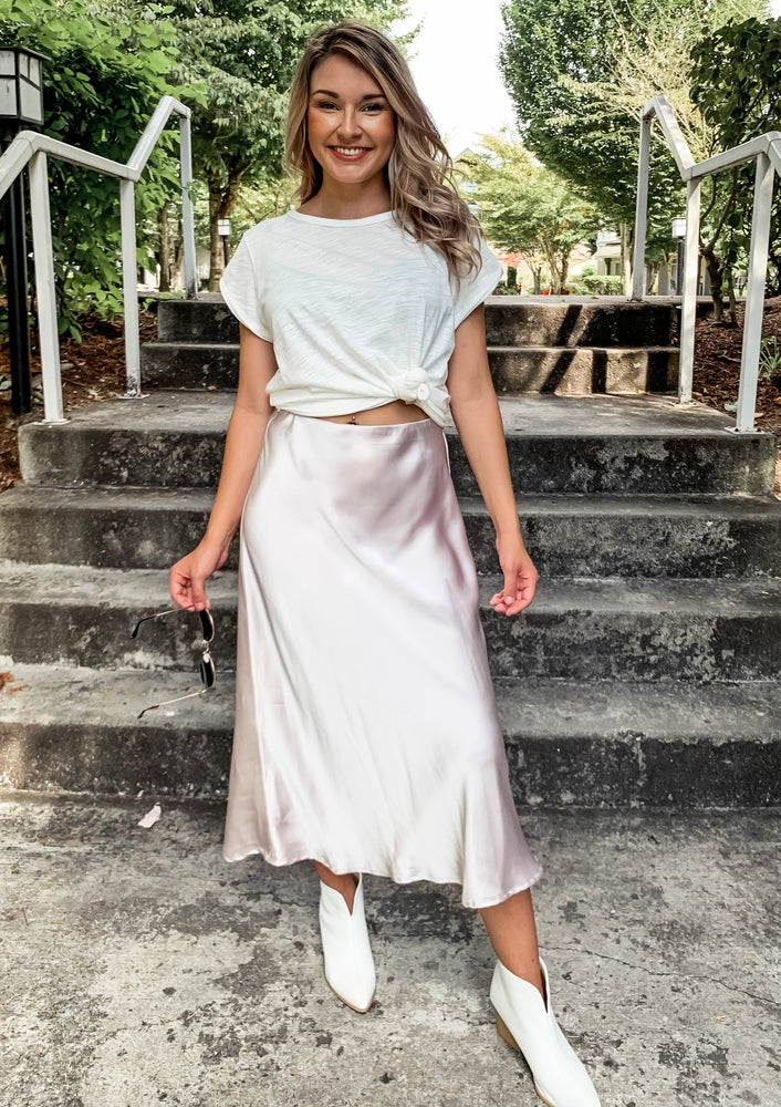 Pearl Satin Midi Skirt