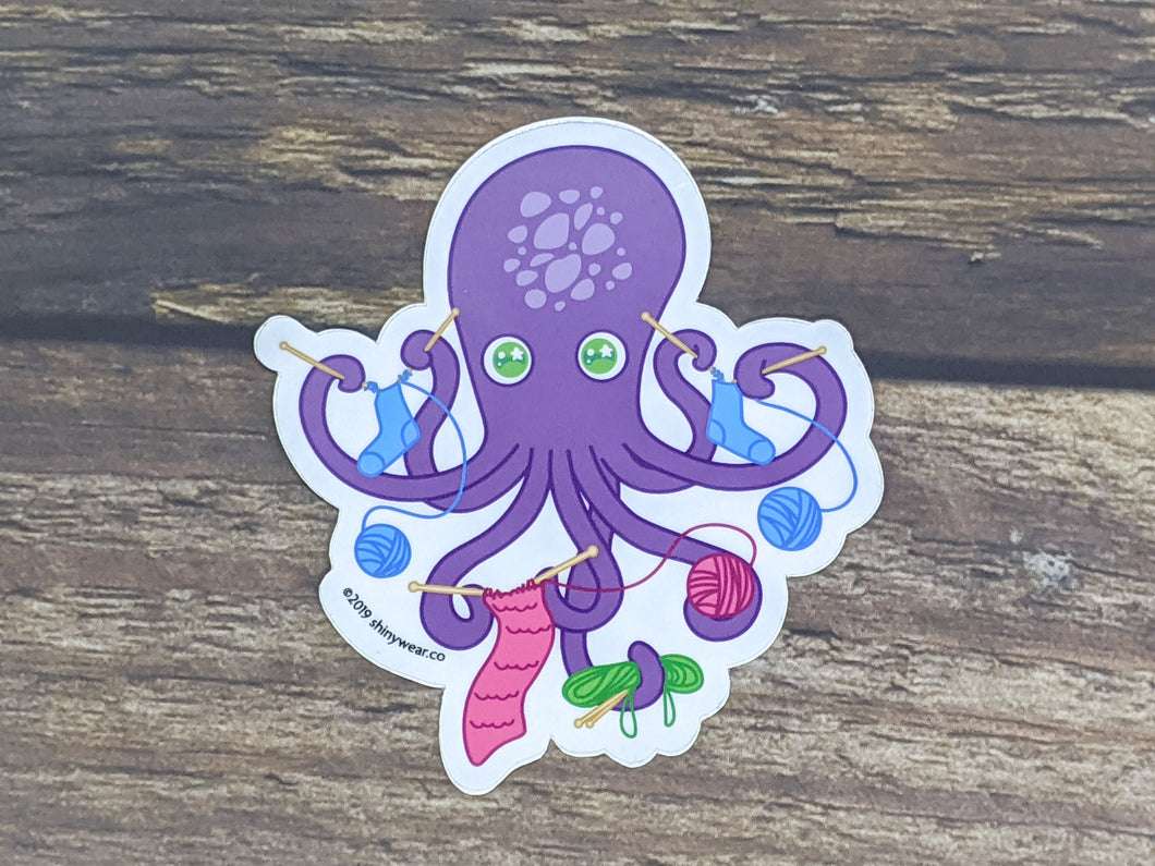 Project Knitter Octopus sticker or magnet