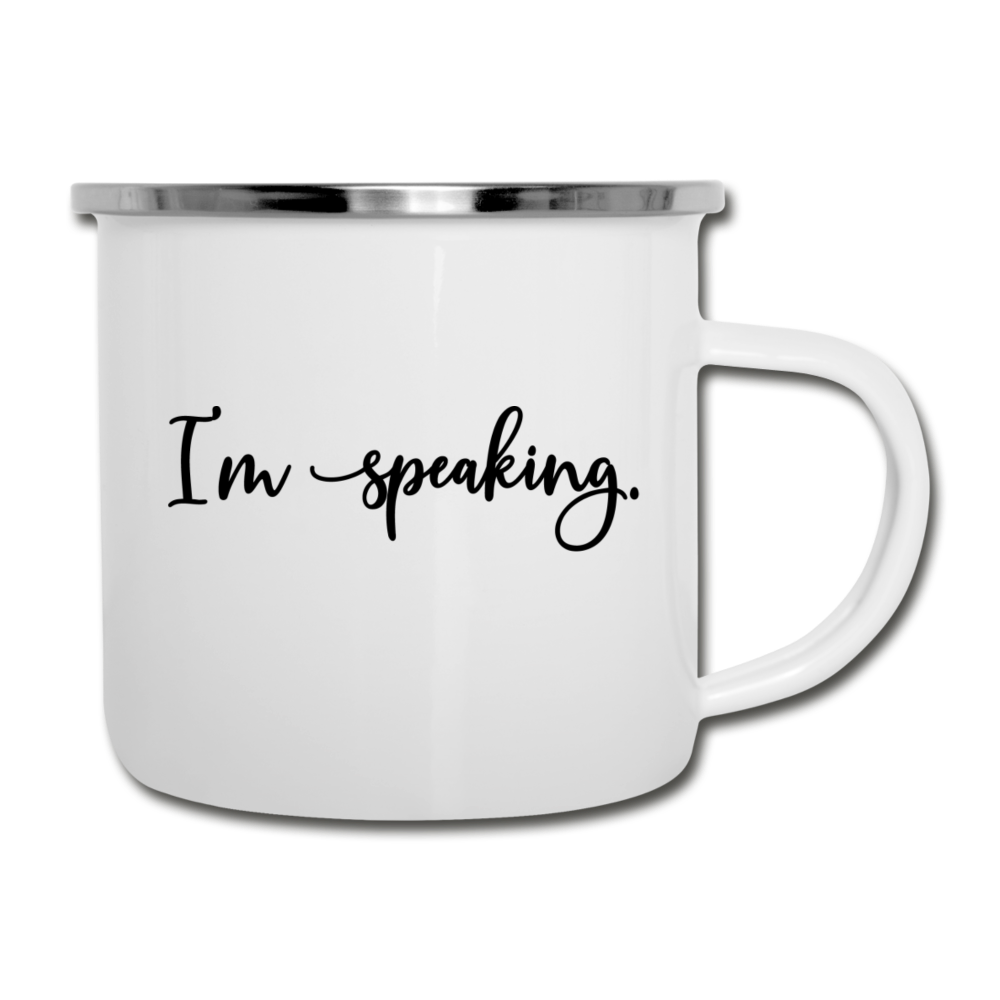 I'm speaking (script) -- Camper Mug - white
