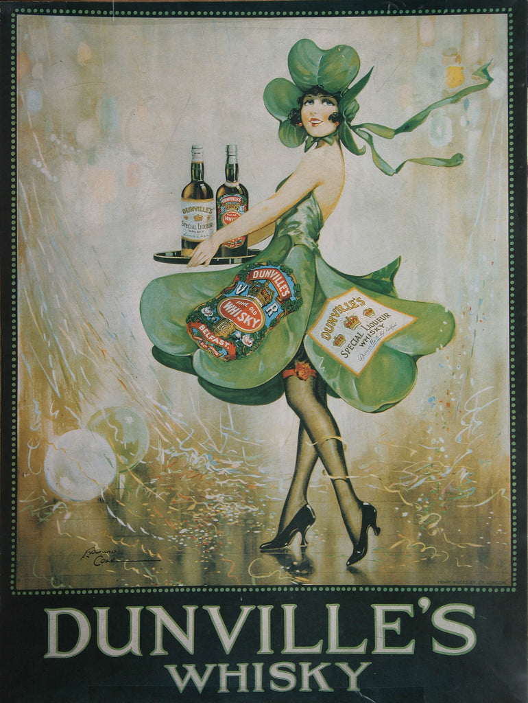 Dunville's whiskey poster with waitress in shamrock dress