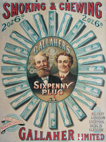 Gallaher Sixpenny Plug Tobacco Advertisement Poster