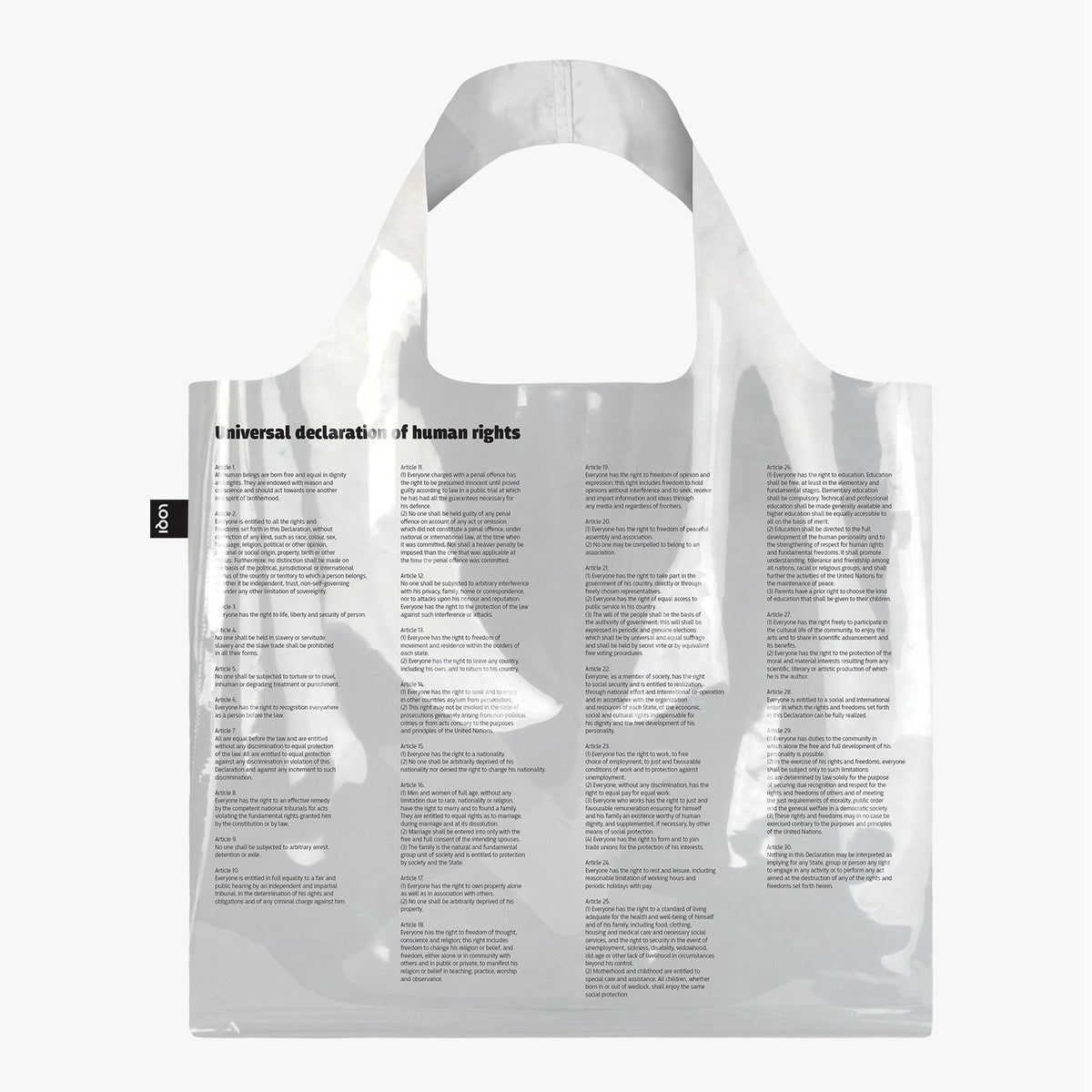 LOQI Transparent Universal Declaration of Human Rights Bag