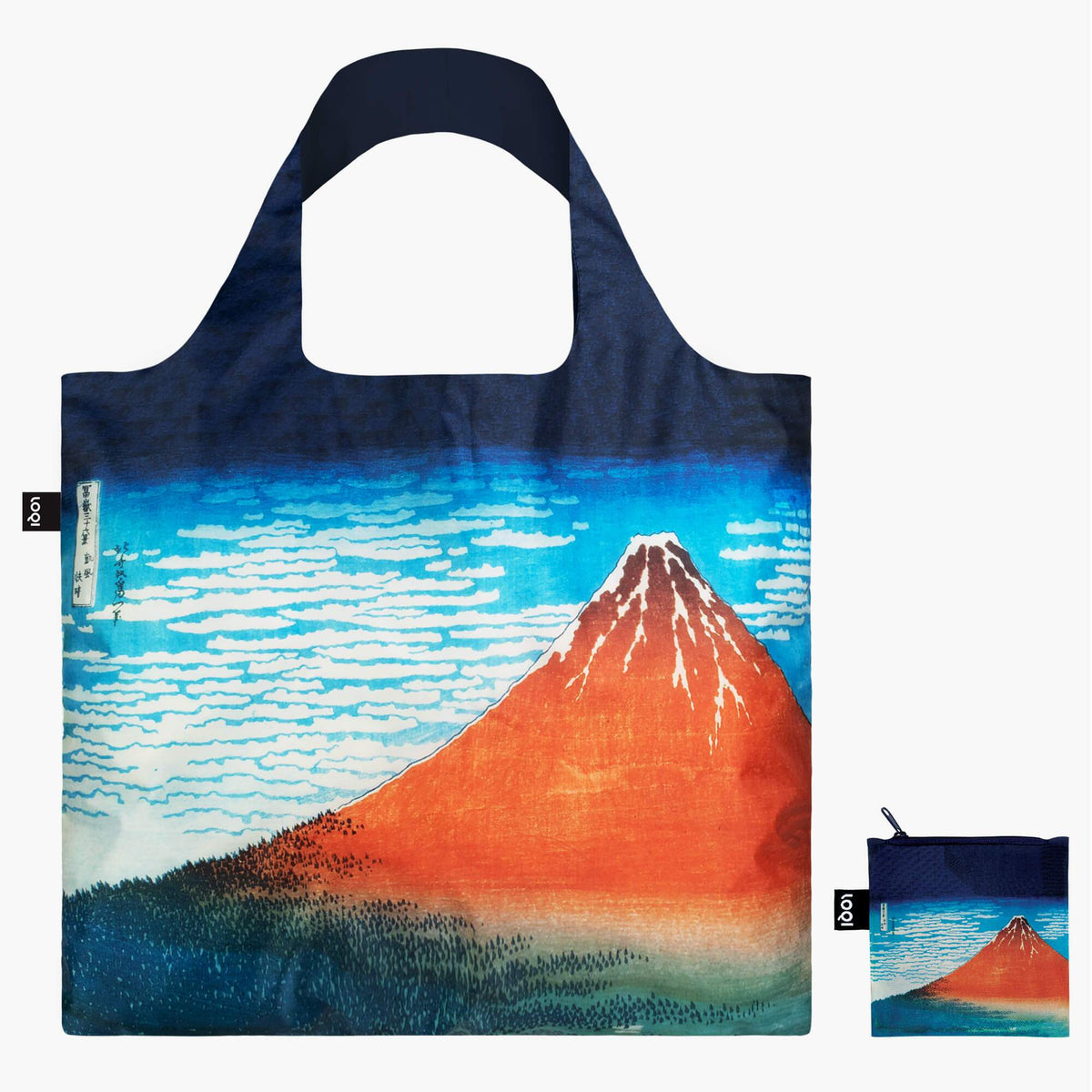LOQI Katsushika Hokusai Red Fuji, Mountains in Clear Weather Bag with zip pocket