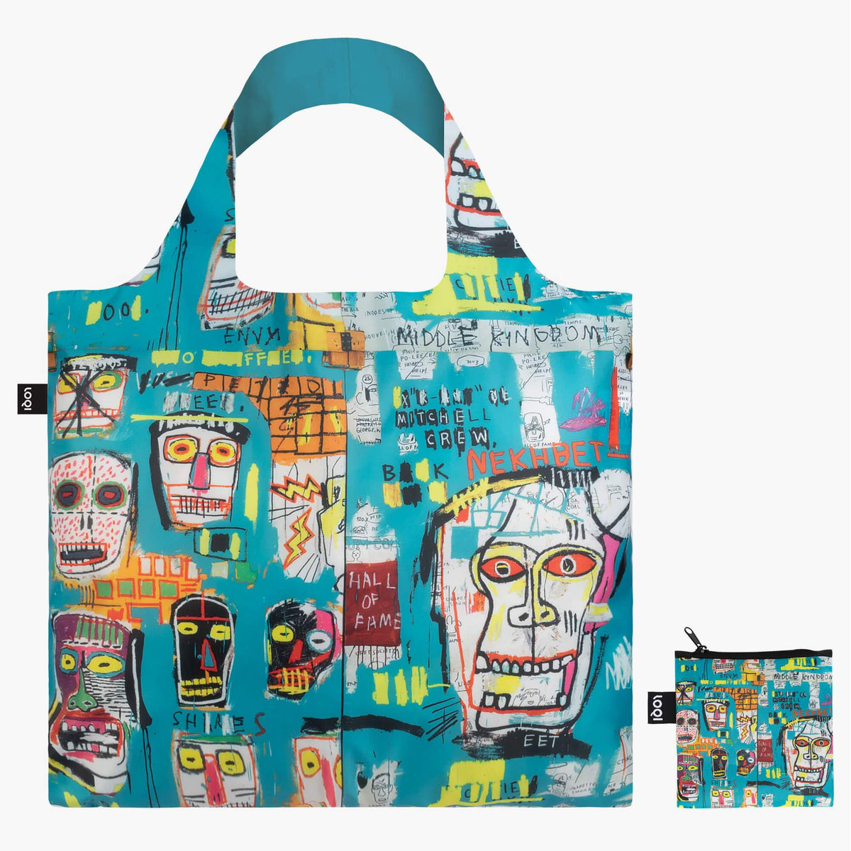 LOQI Jean-Michel Basquiat Skull Bag with zip pocket