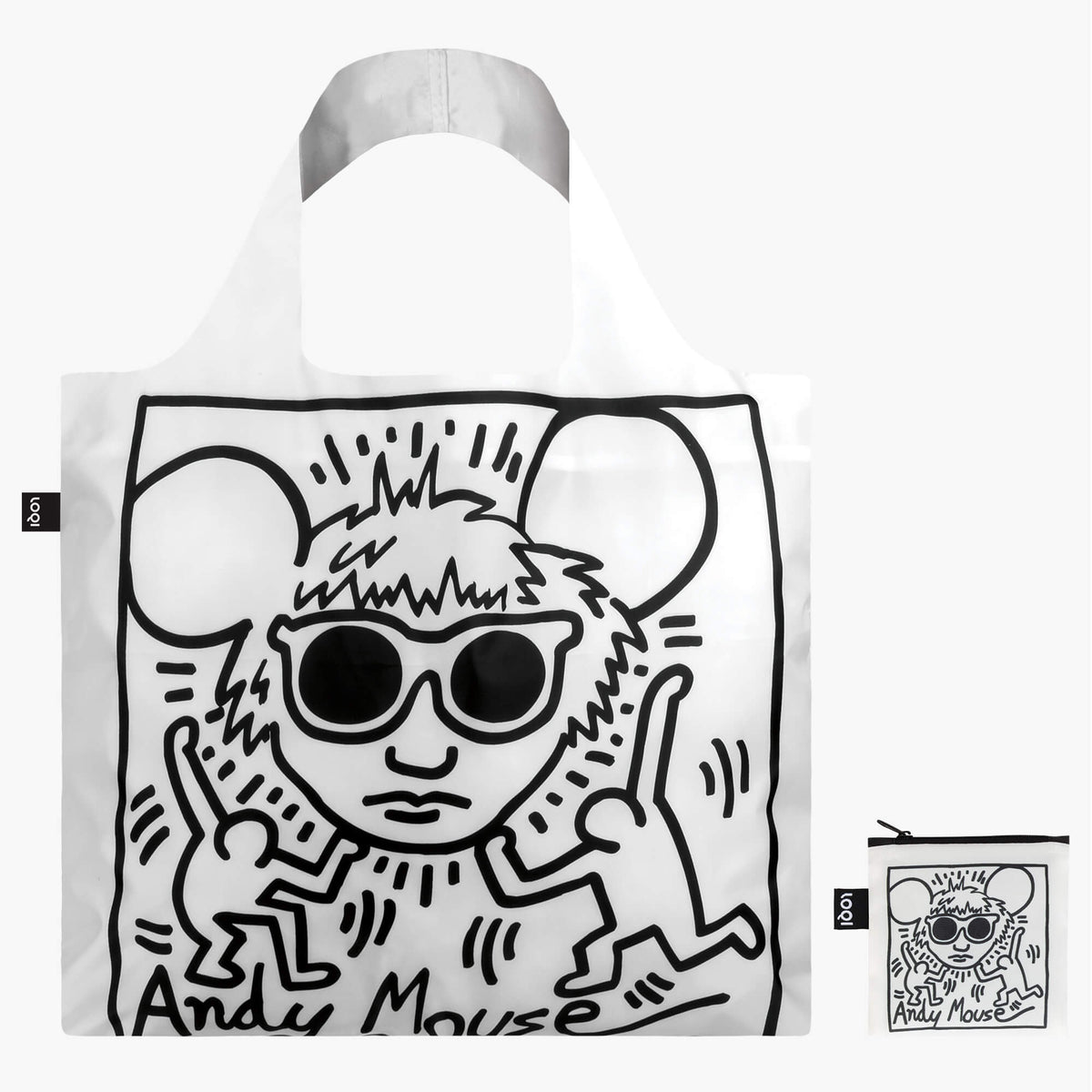 LOQI Keith Haring Andy Mouse Bag with zip pocket