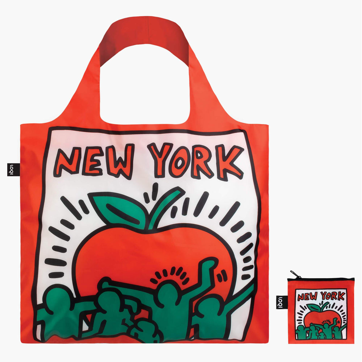 LOQI Keith Haring New York Bag front with zip pocket
