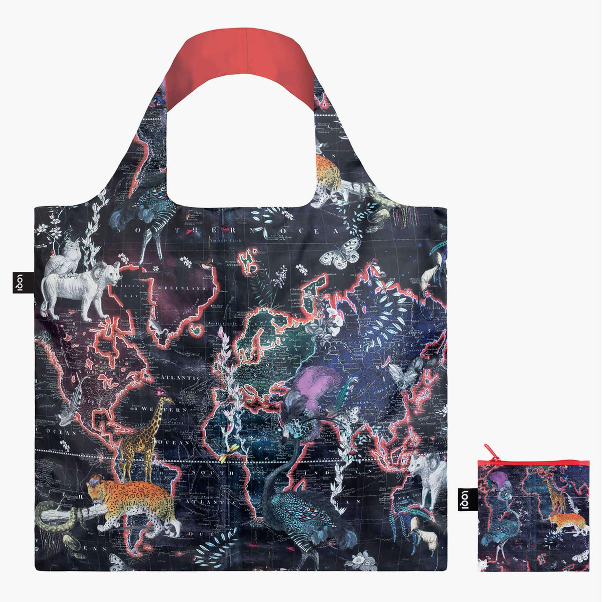LOQI Kristjana S Williams Interiors World Map Bag with zip pocket