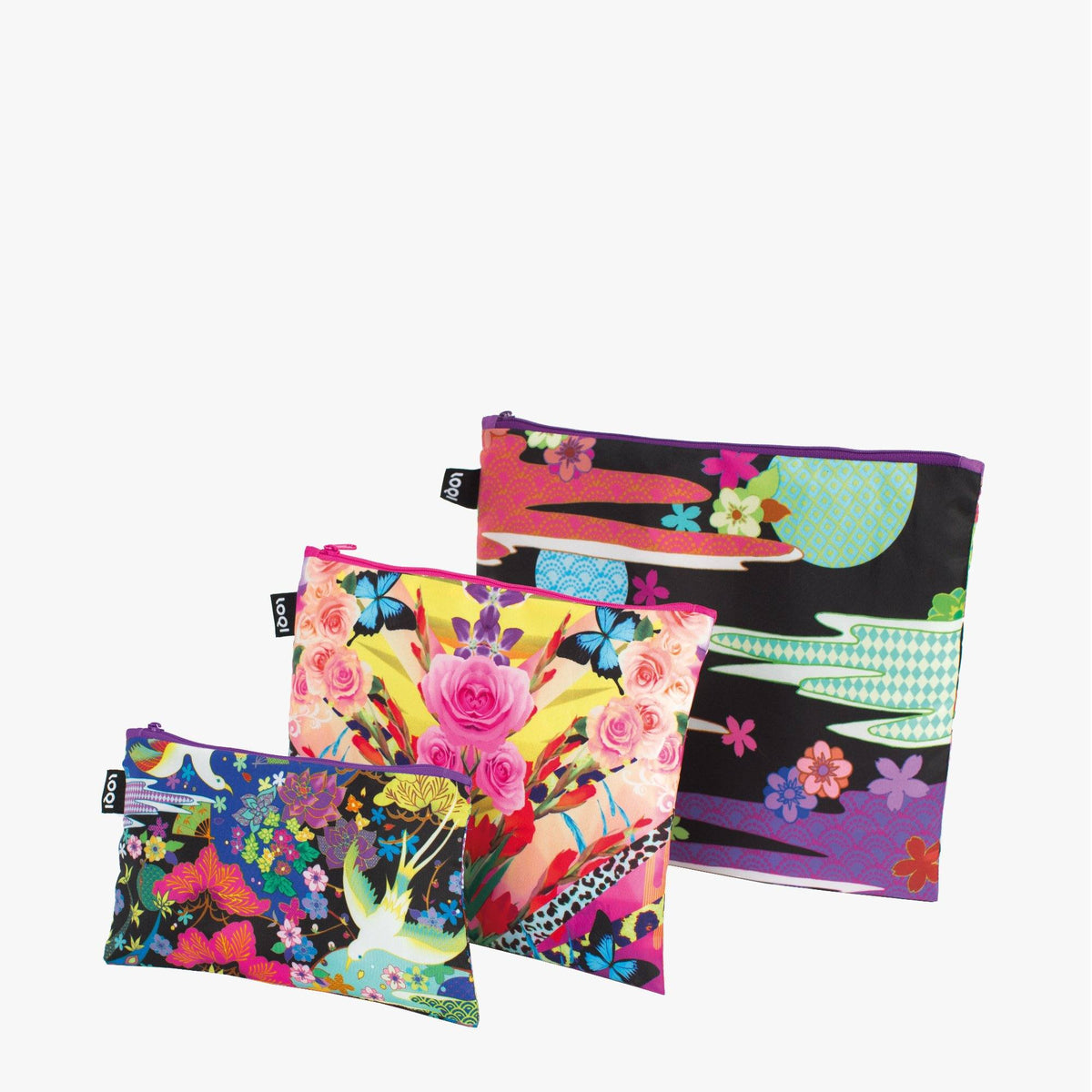 Dancing Birds, Flower Dream Zip Pockets