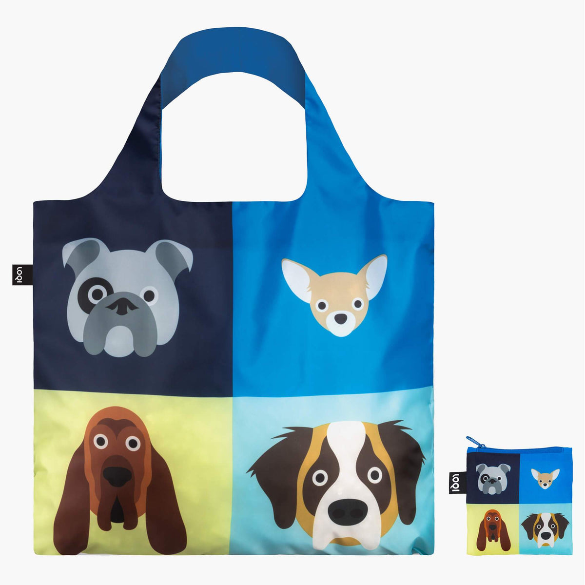 LOQI Stephen Cheetham Dogs Bag front with zip pocket