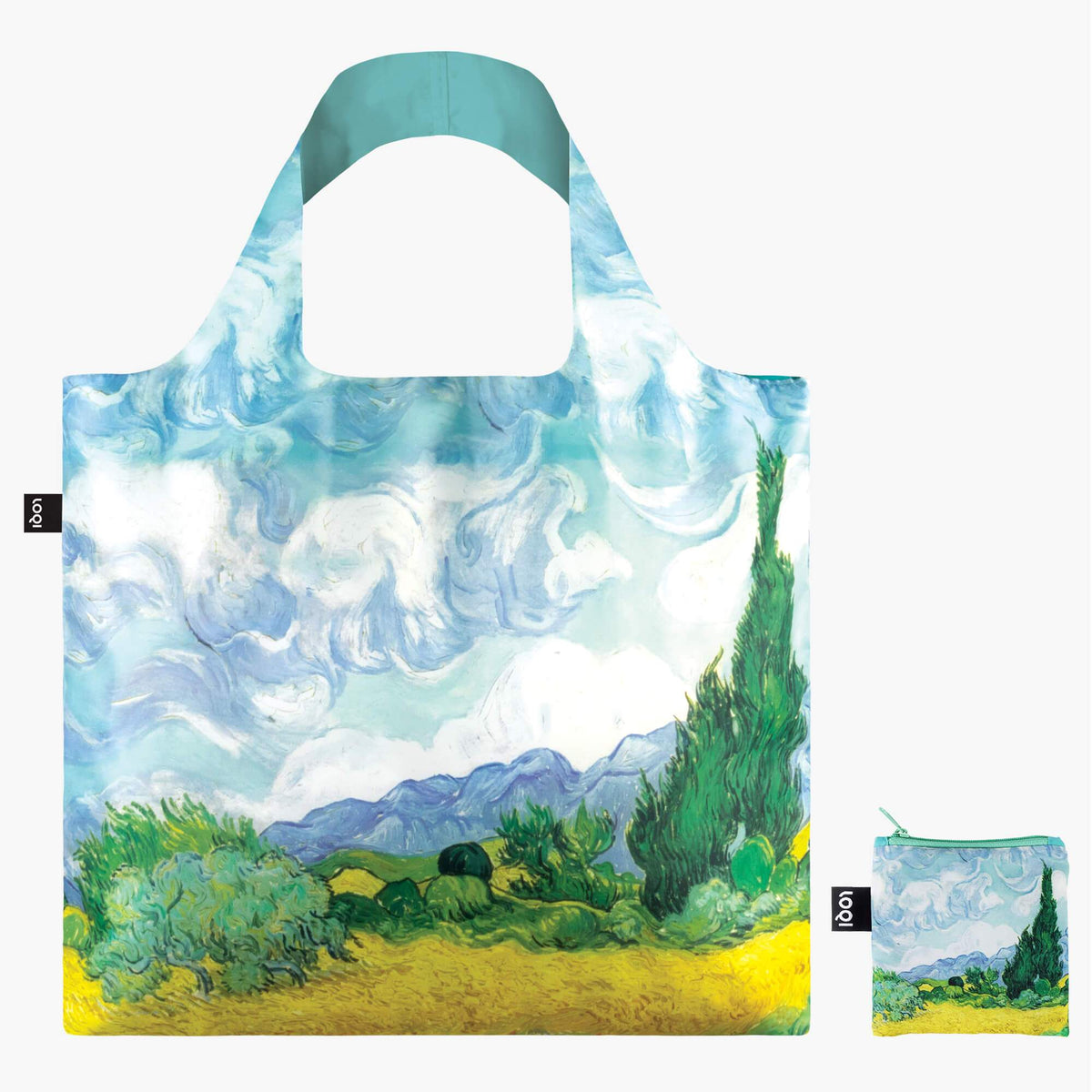 LOQI Vincent van Gogh A Wheat Field with Cypresses, 1889 Bag with zip pocket