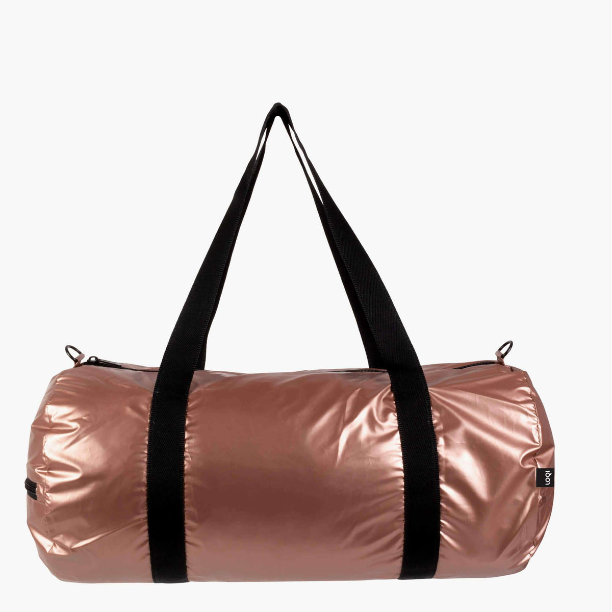 LOQI Metallic Matt Rose Gold Weekender outside
