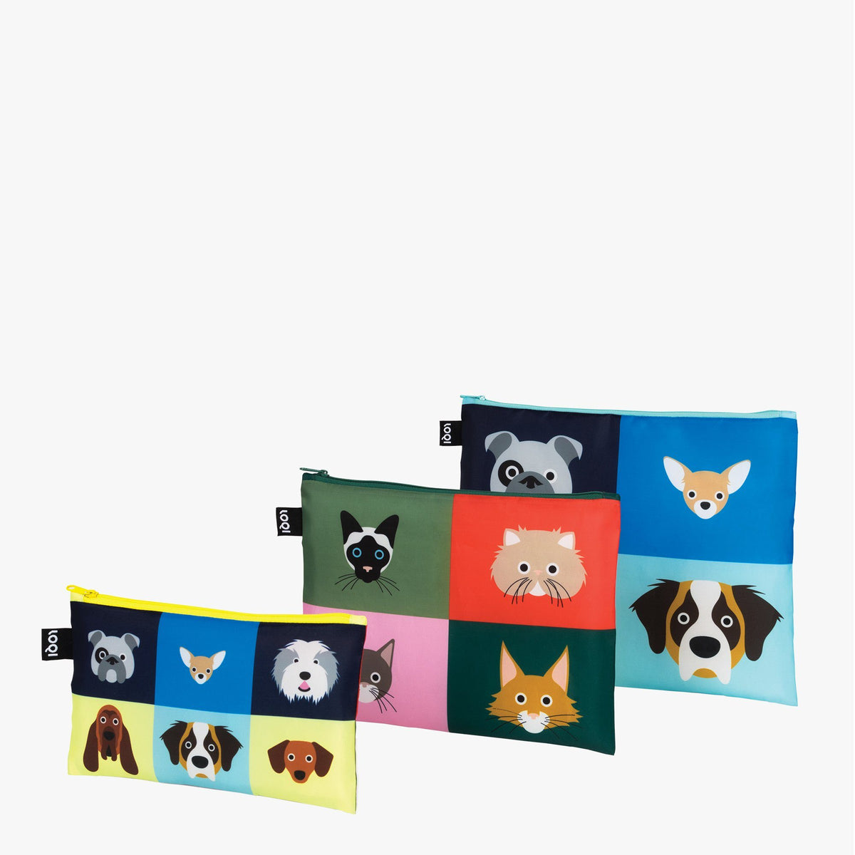 LOQI Stephen Cheetham Cats & Dogs Zip Pockets Stacked