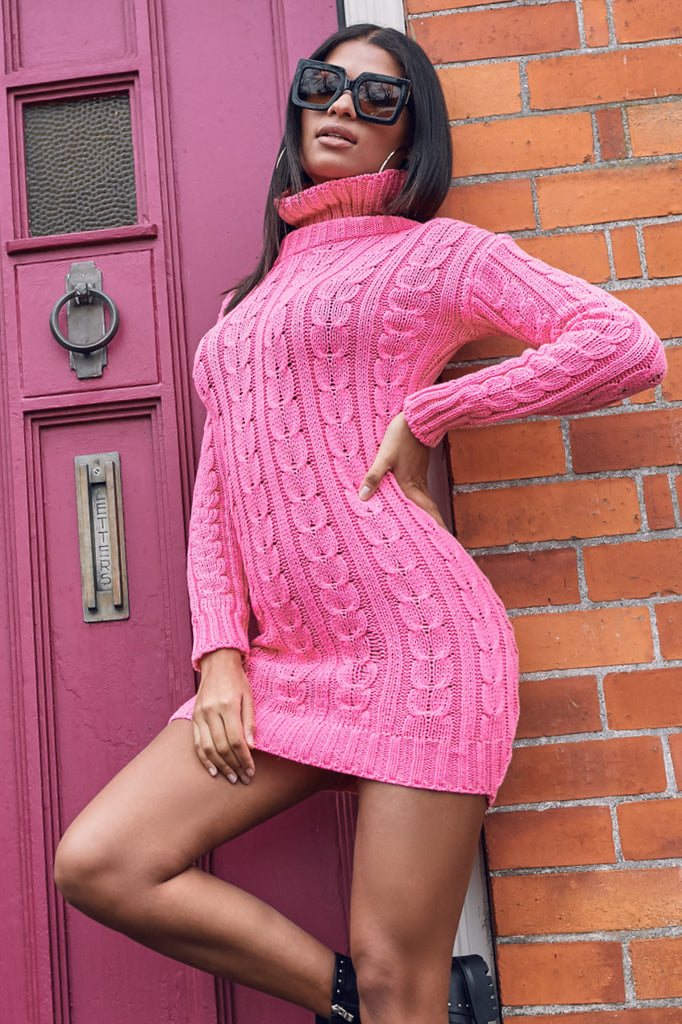 Raquel Neon Pink Cable Knit Jumper Dress