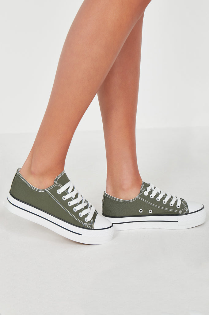 Suka Kakhi Lace Up Canvas Trainers