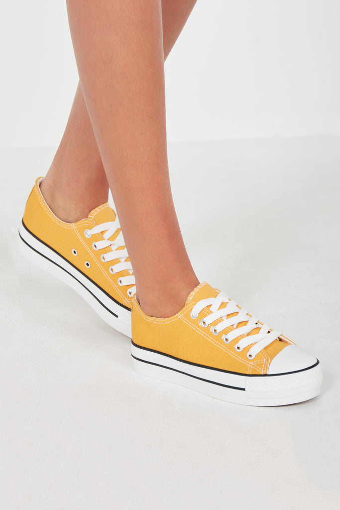 Suka Yellow Lace Up Canvas Trainers
