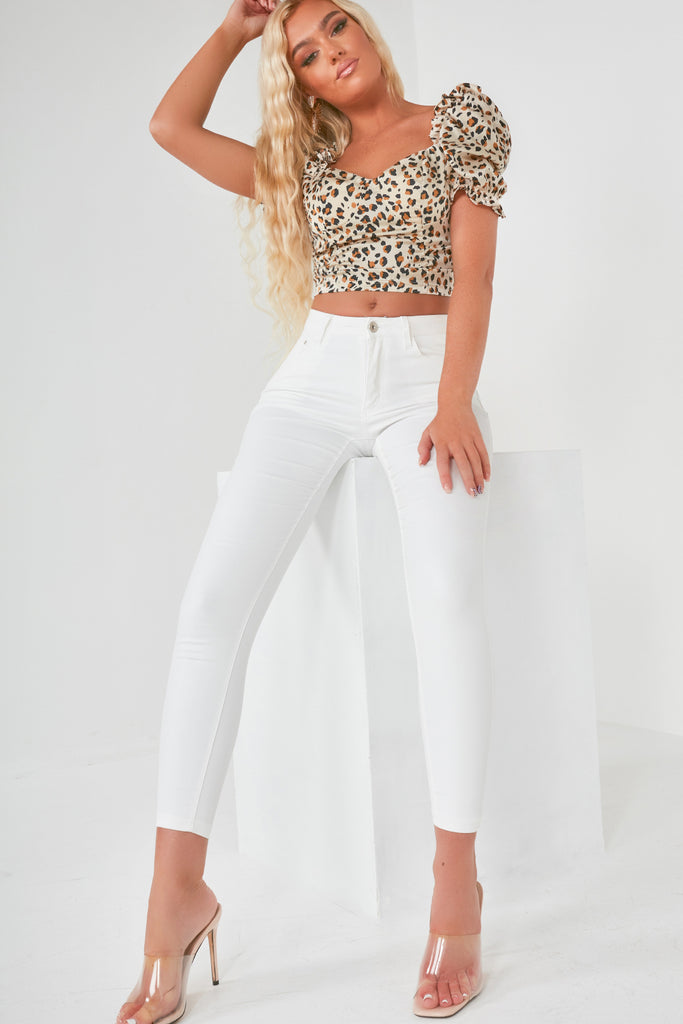 April Cream Leopard Milkmaid Crop Top