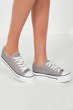 Suka Grey Lace Up Canvas Trainers
