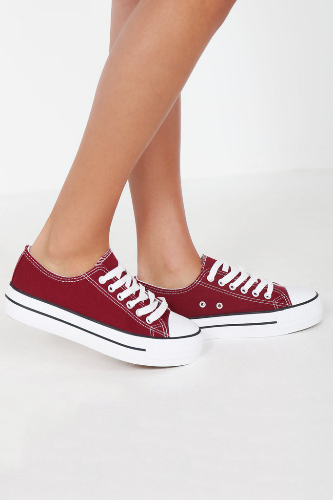 Suka Wine Lace Up Canvas Trainers