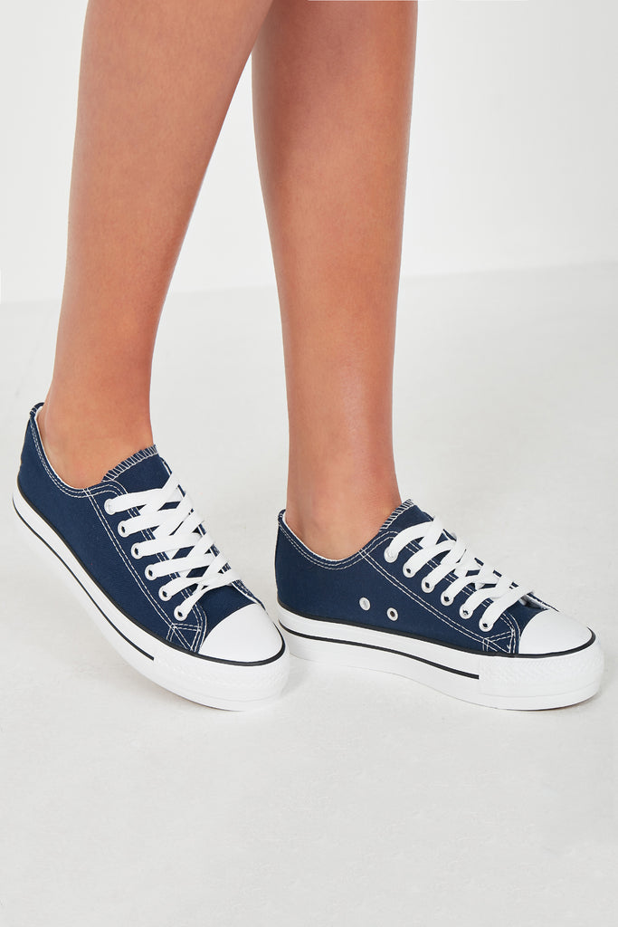 Suka Navy Lace Up Canvas Trainers