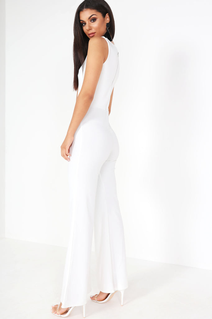 Bree White Cut Out Front Jumpsuit