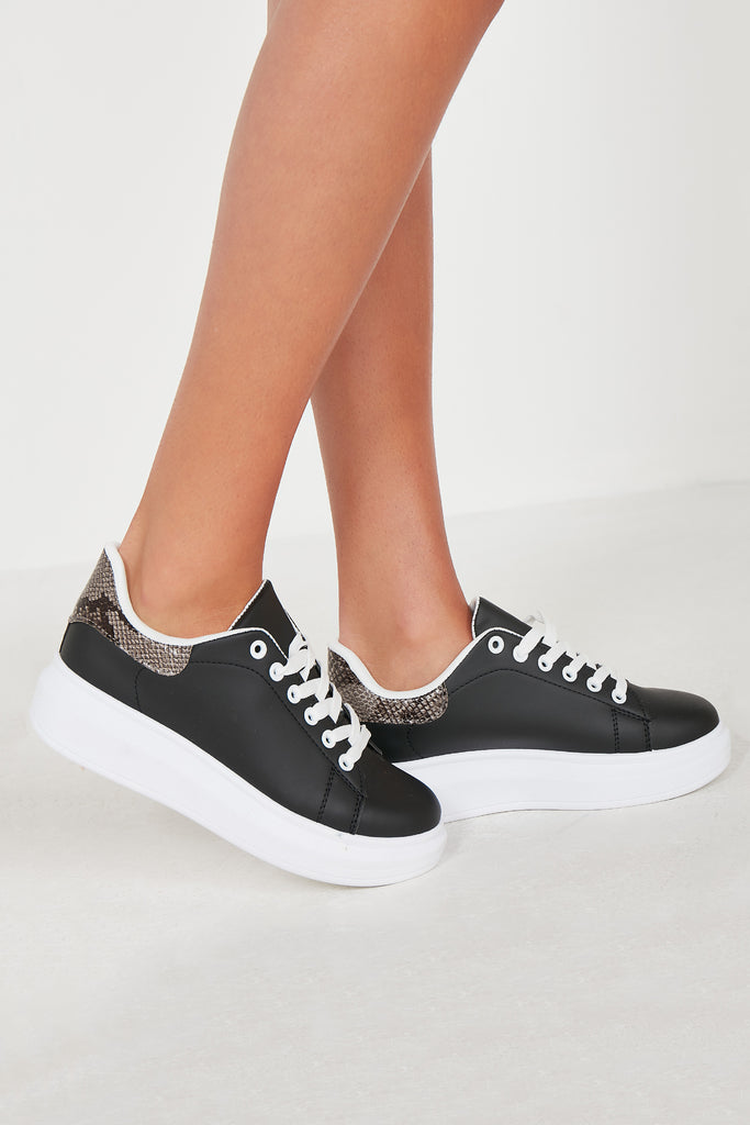 Nisha Black Platform Lace Up Trainers