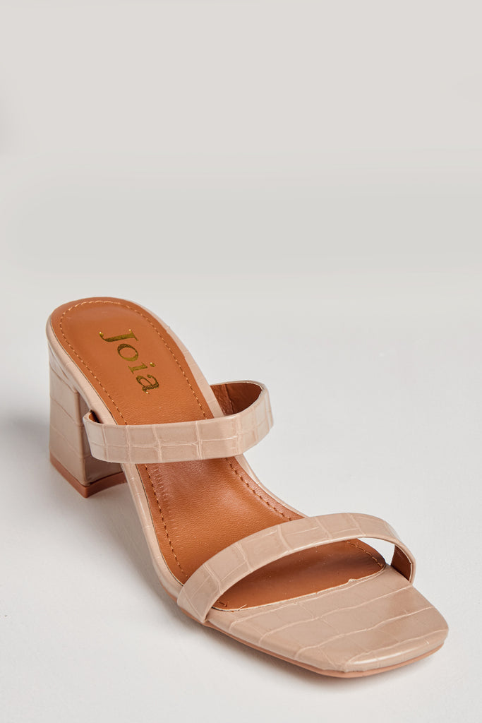 Serenity Nude Mock Croc Strappy Mules