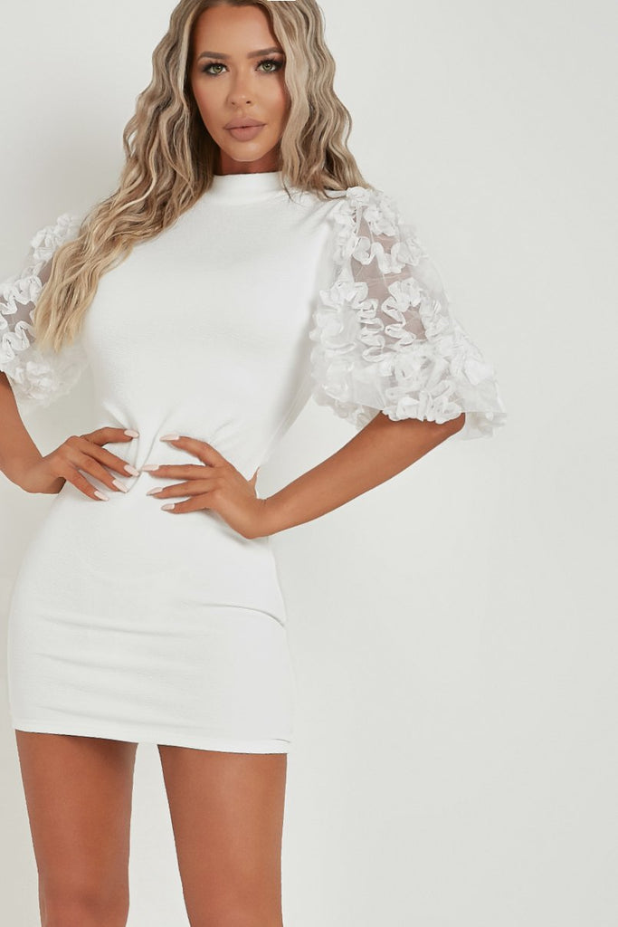 Jada Cream Floral Mesh Sleeve Bodycon Dress