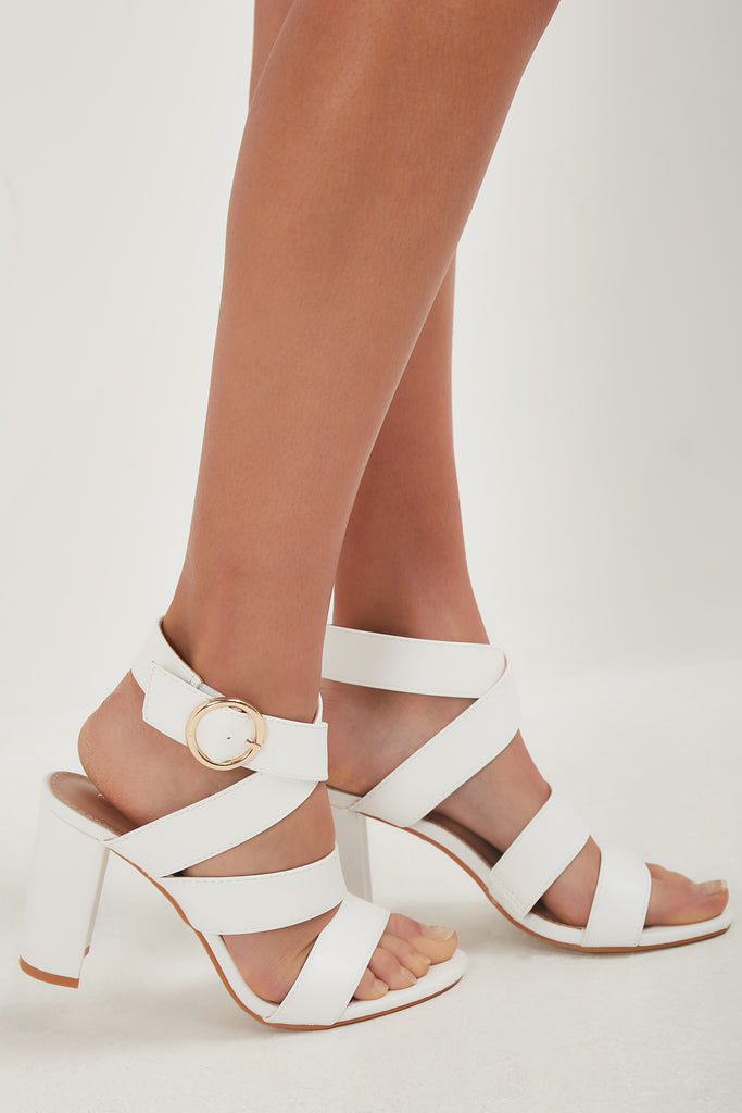 Teegan White Strappy Block Heel Sandal