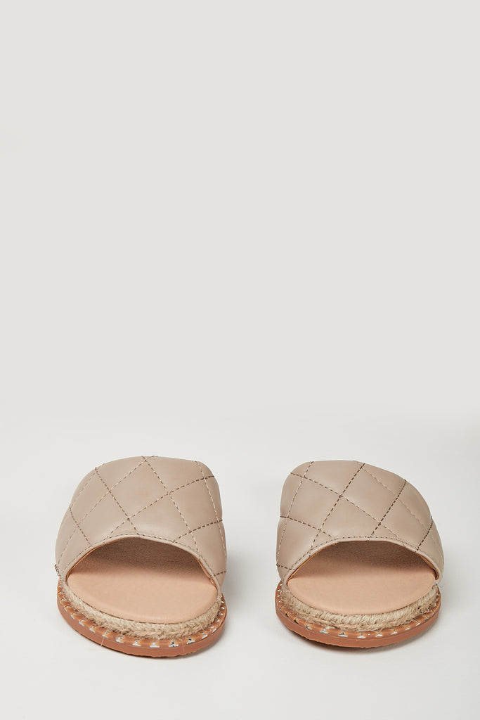 Yolo Nude PU Quilted Slider