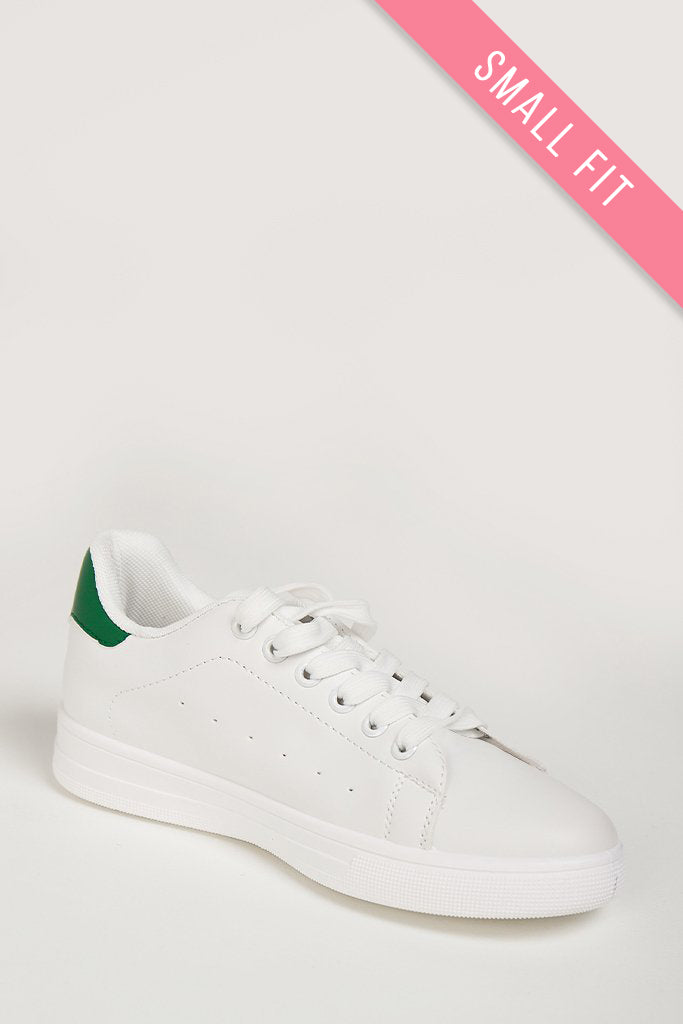 Aggie White With Green PU Trainers