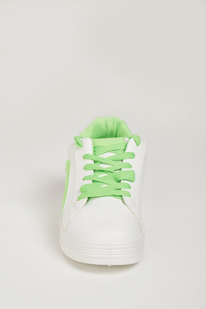 Amy Neon Green Lace White Trainers