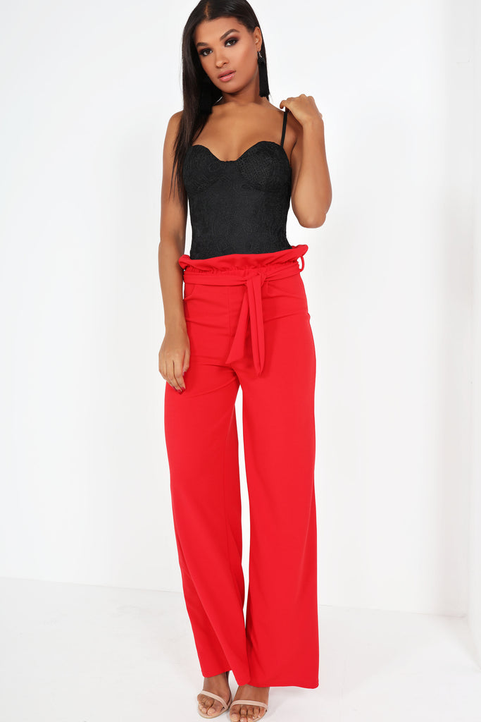 Dione Red Wide Leg Trousers