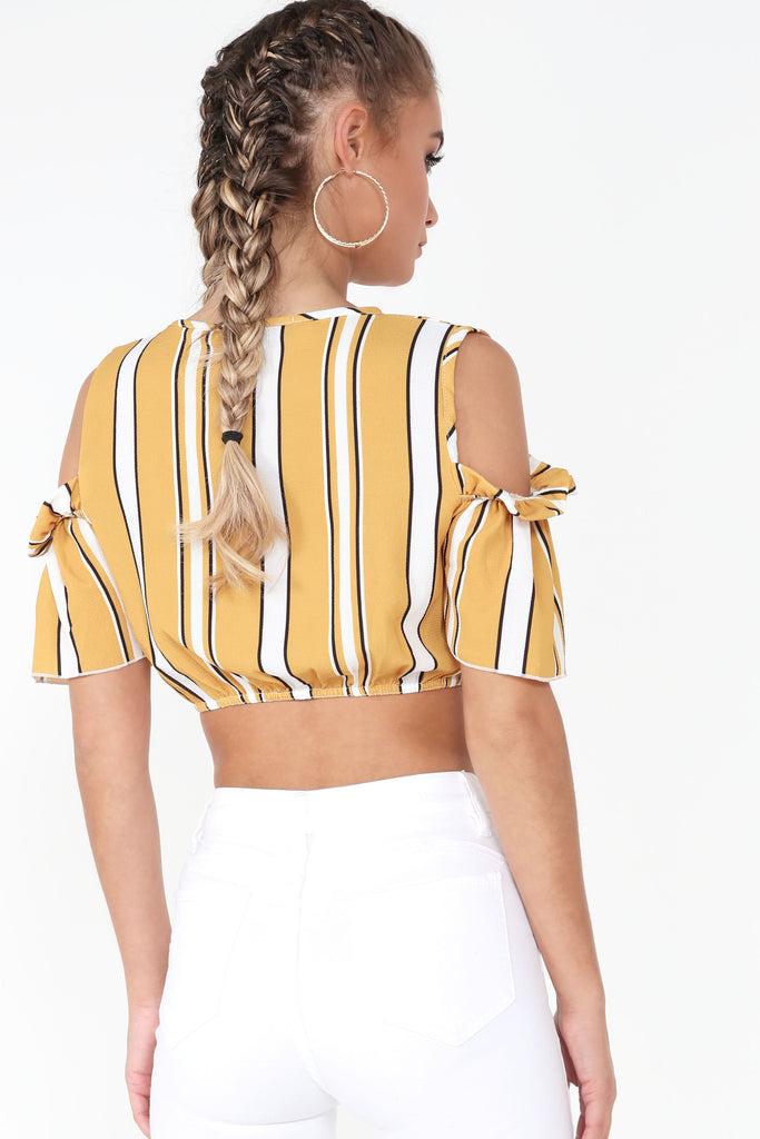 Ericia Mustard Striped Crop Top