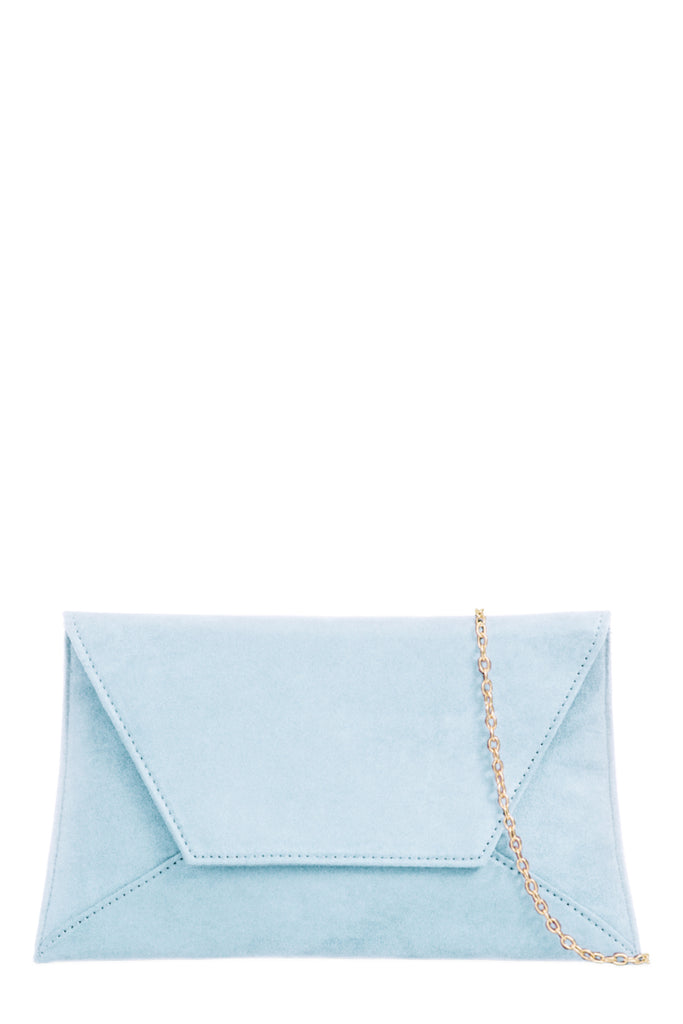Nettie Serenity Blue Suedette Envelope Clutch Bag (1928288010306)